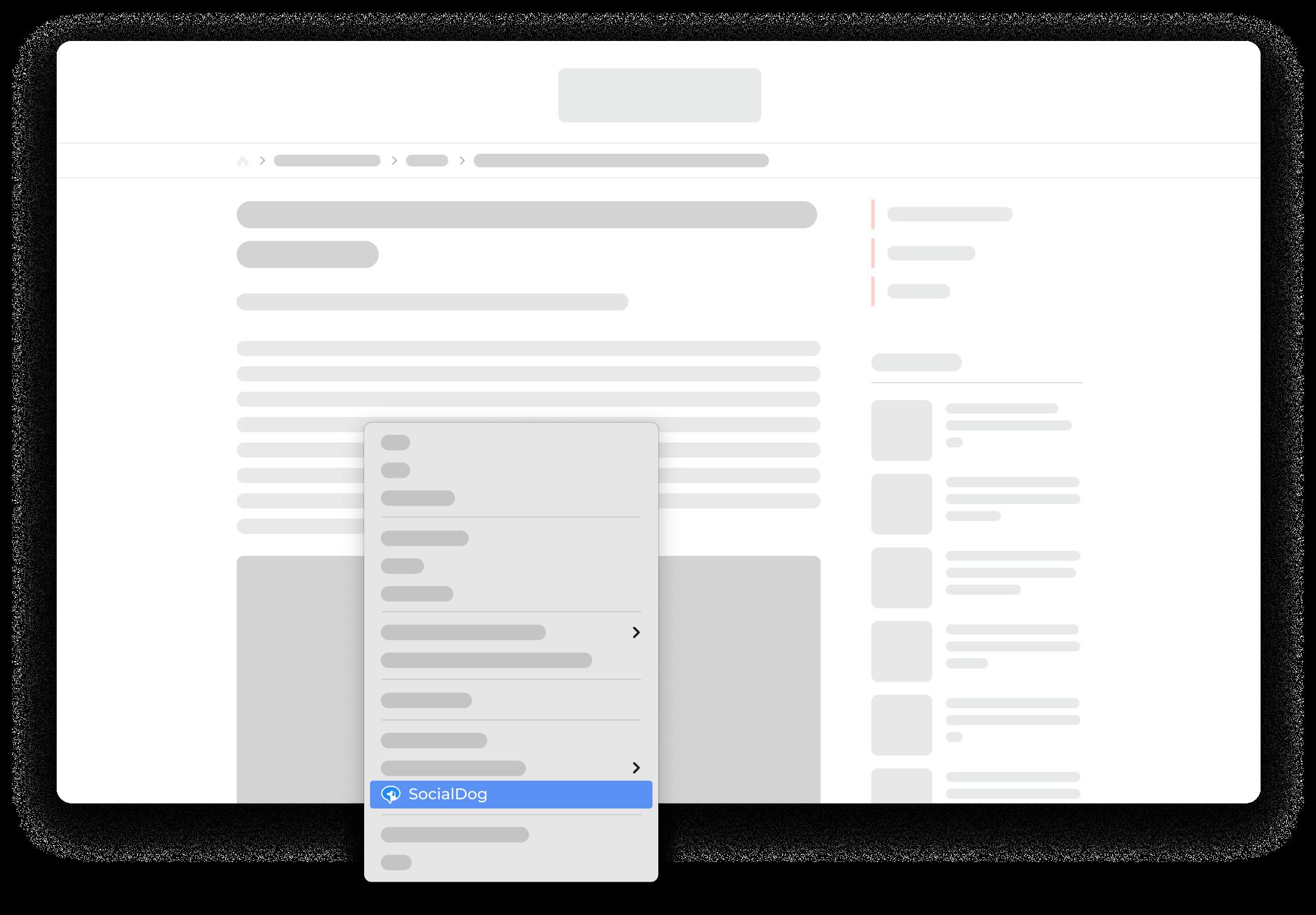右クリックで表示されるメニューから「SocialDogでページをシェア」を選ぶだけで、表示中のウェブページを簡単にツイートできます。